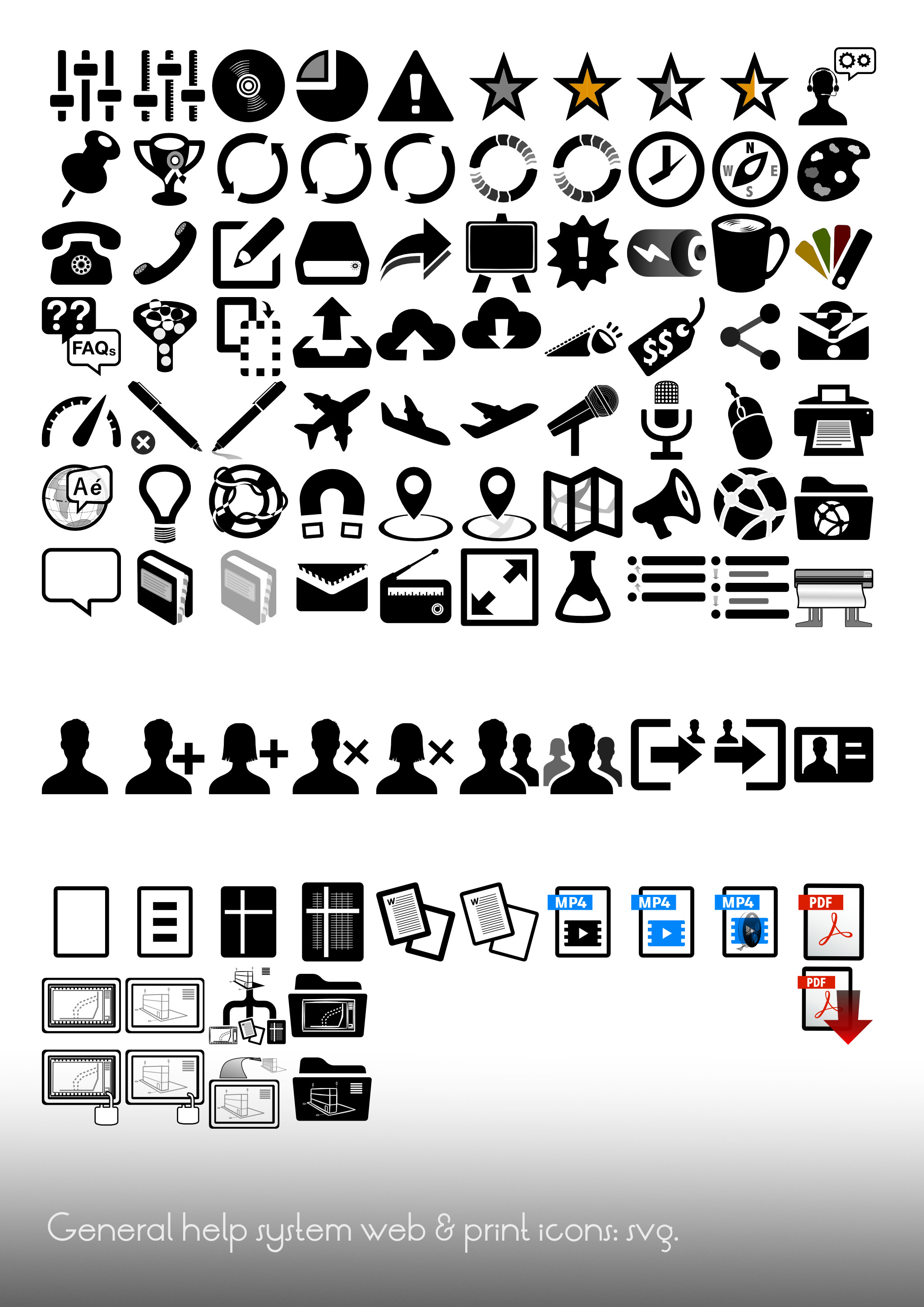 General-use icons developed for a client's extensive help system, starting with the open-source Entypo+ system as base; there are design variations created to keep stylistic consistency and many new icons designed for needed concepts.