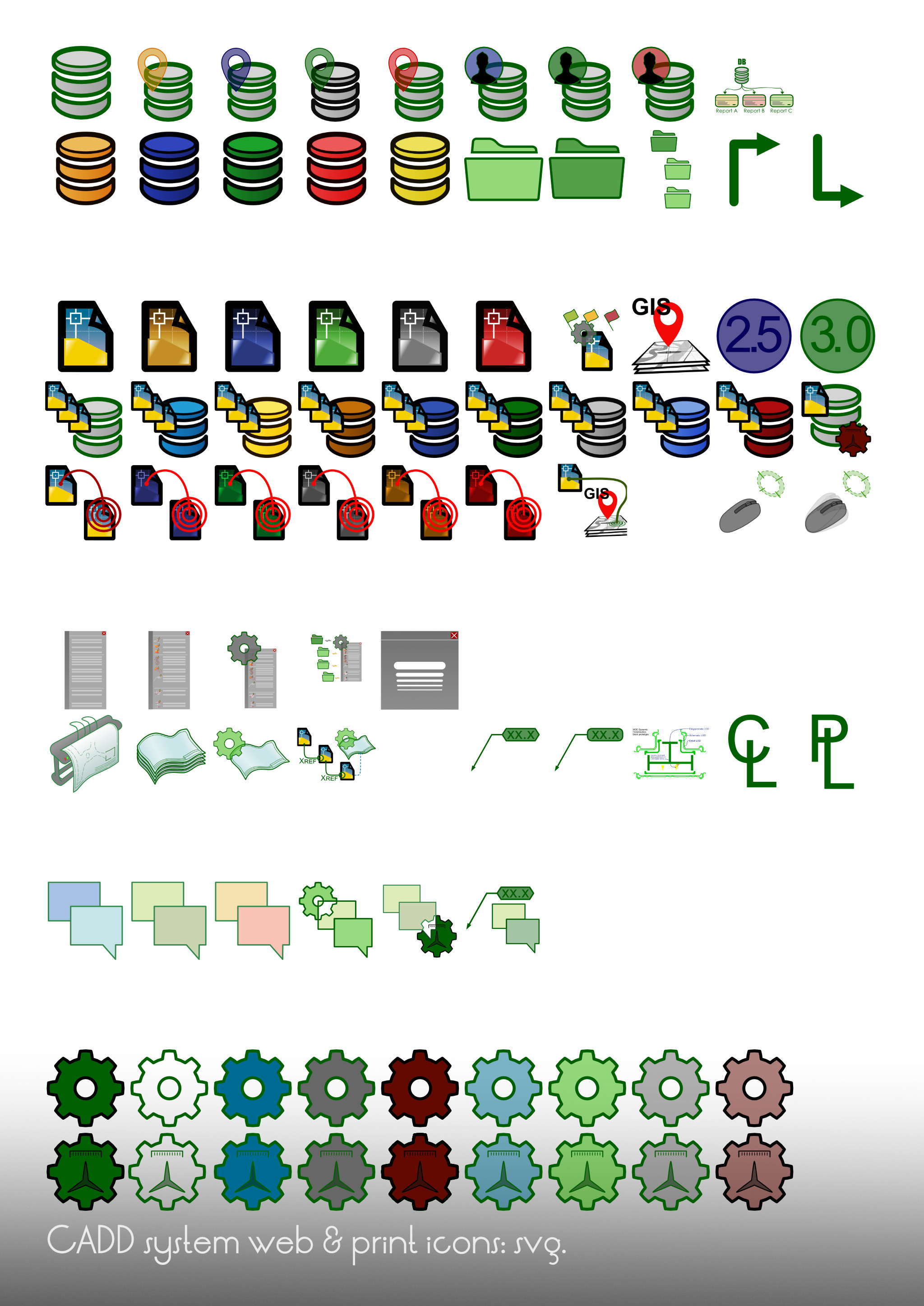 Specific CADD icons developed for a client's extensive help system. These are all new icons for in-house CADD systems documentation; due to the highly technical nature of the concepts, and high time-on-page, these icons have more detail than typical.