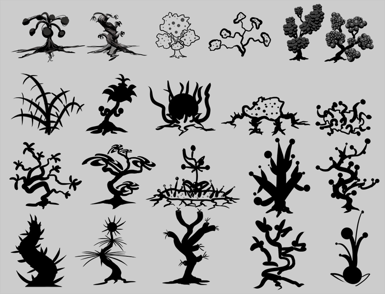 Alien Plant life silhouettes based mostly on spheres