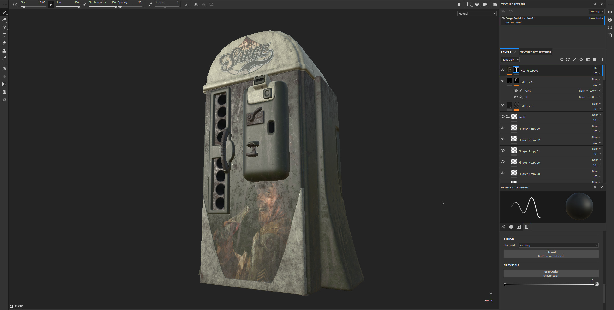 Sarge Soda Machine in Substance Painter