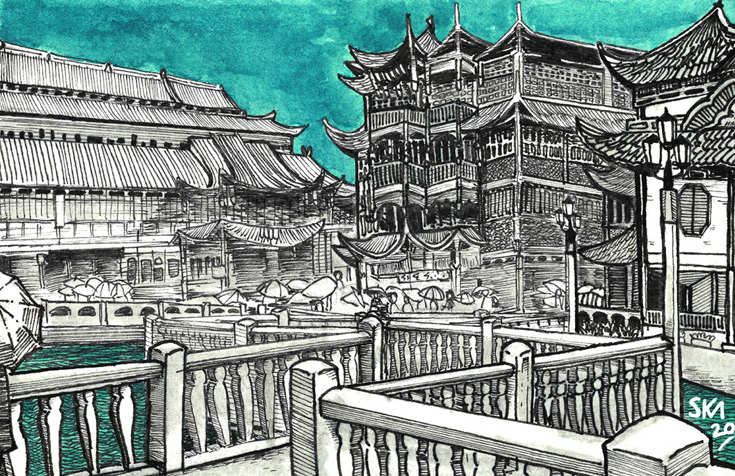 """""""A Postcard from #SomewhereNotHere- Yu Yuan Garden Bridge"""" Watercolour, Alcohol Marker, and Fineliners on Paper"""