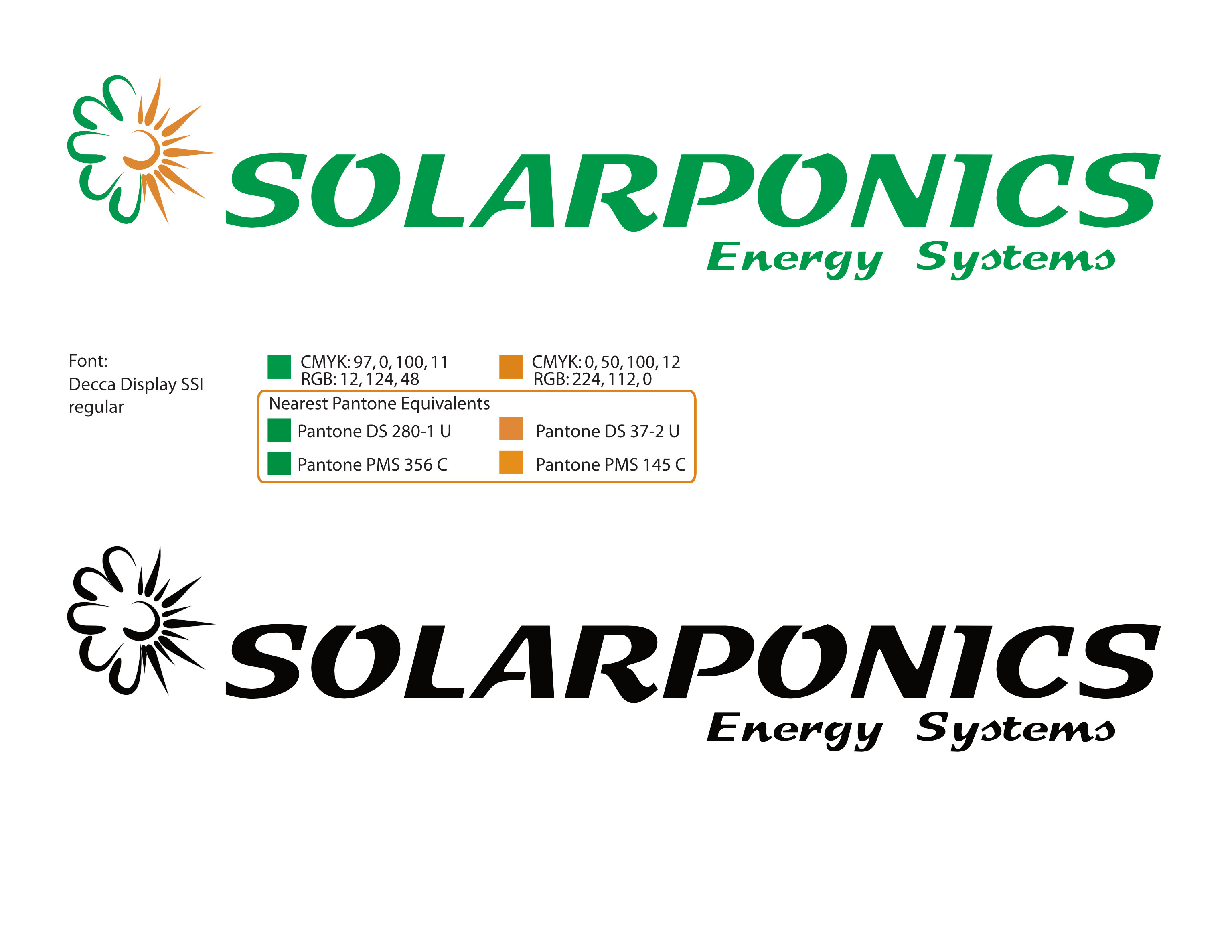 Corp ID | logo definition developed for a sustainable energy / solar contractor; graphic style was established here first, and informed the equinox illustration.