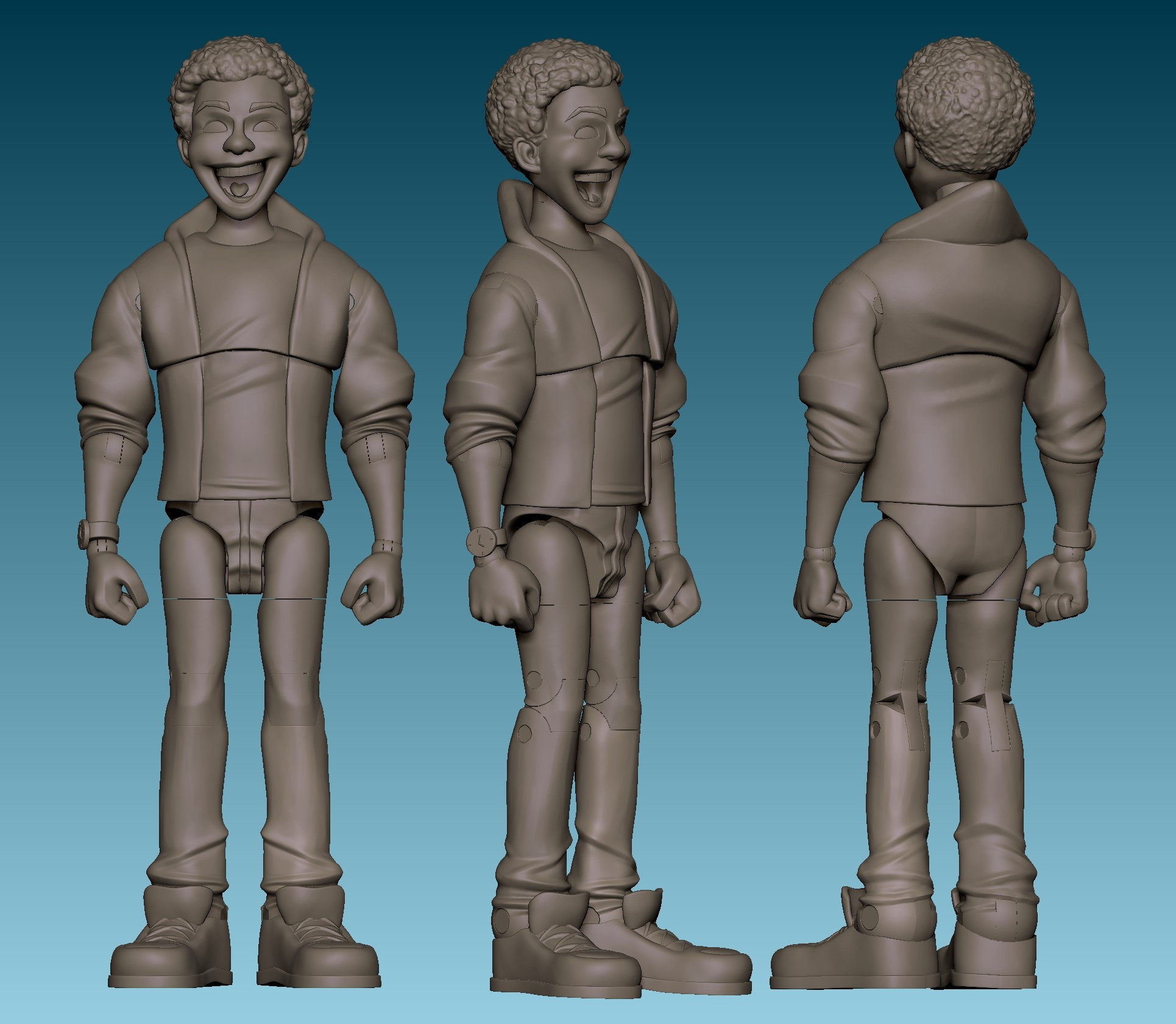 I did all the joint creation and keying in Zbrush. Here is the final sculpt with all the action figure joints carved out. Next we'll look at them in motion!