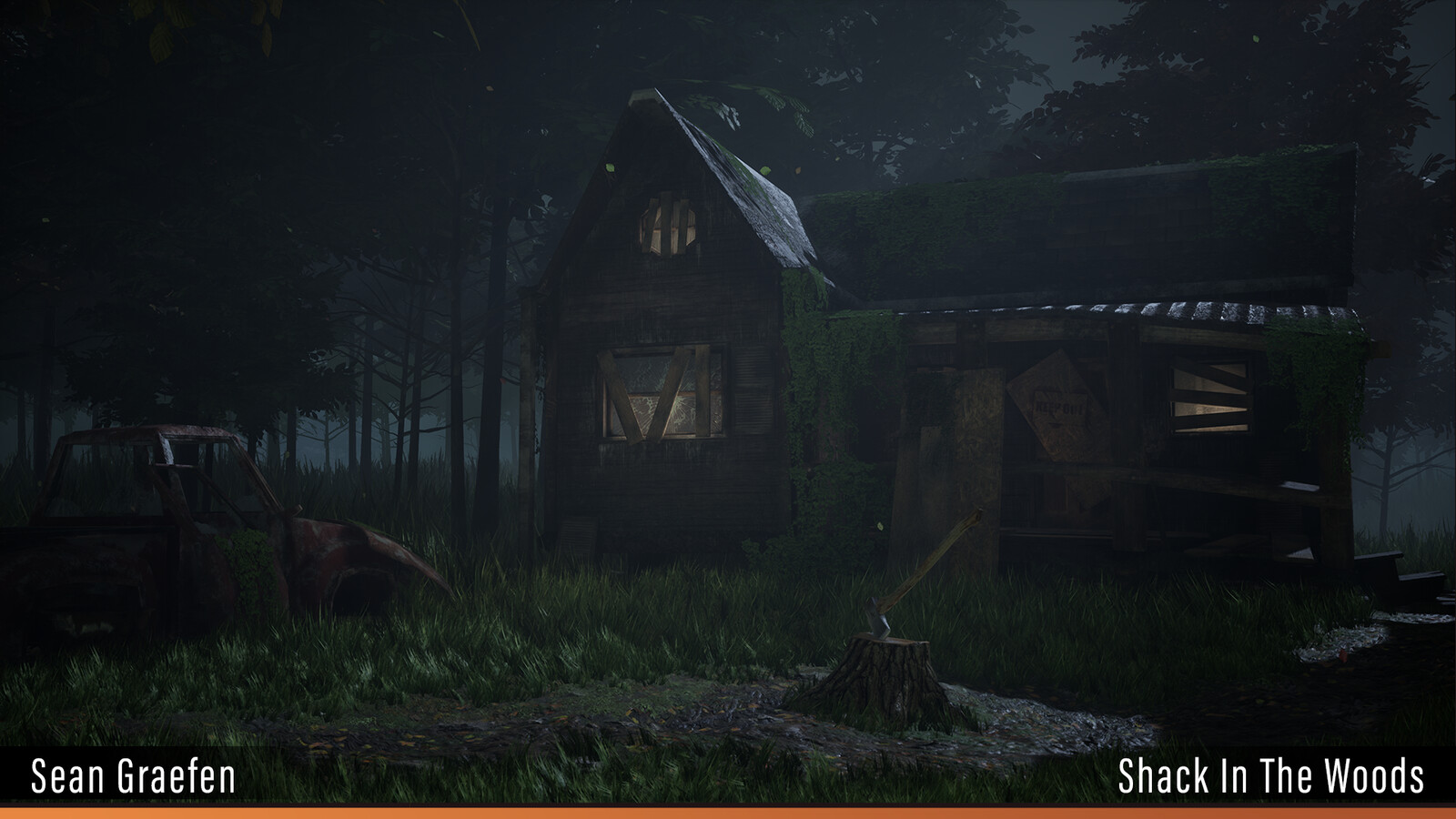 This is one of my earliest environment projects that I completed.  It features a run-down shack that is decaying in a forest.  The goal was to learn the basics of modeling, texturing, set dressing, and lighting.