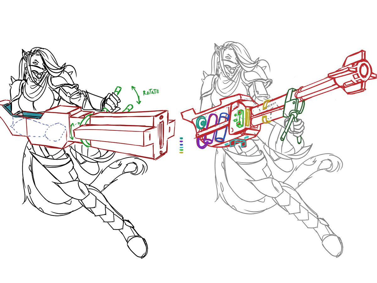 Rough sketches concept of the weapon.