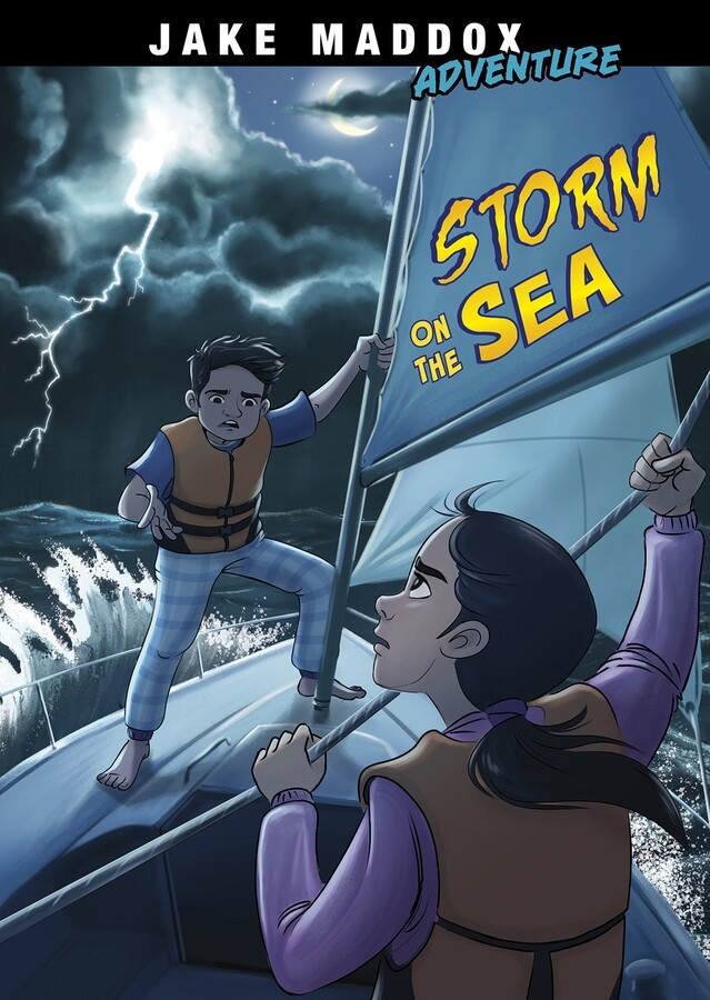 Jake Maddox Adventures – Storm on the Sea by ©Capstone Author: Jake Maddox Illustrator: Eva Morales Publisher: ©Capstone (2021) ISBN: 9781515883388  (paperback)