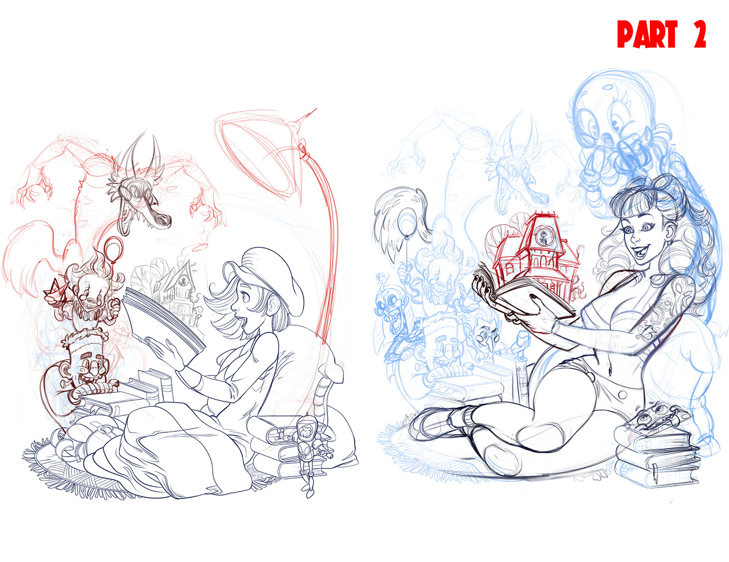 Changes to the initial remake with lowbrow characters and the final sketch.