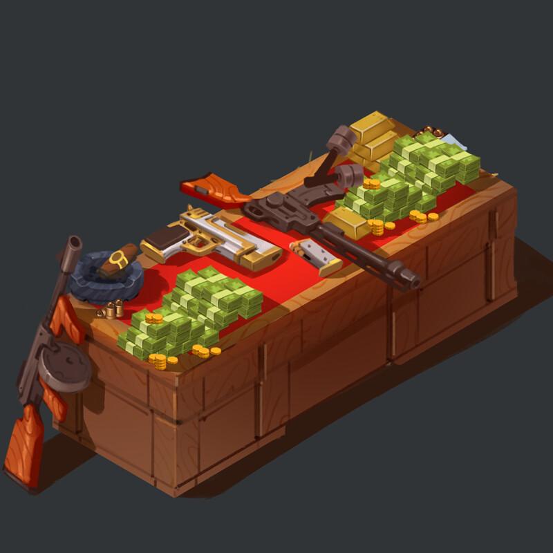 Mafia Weapon Table - Prop Design