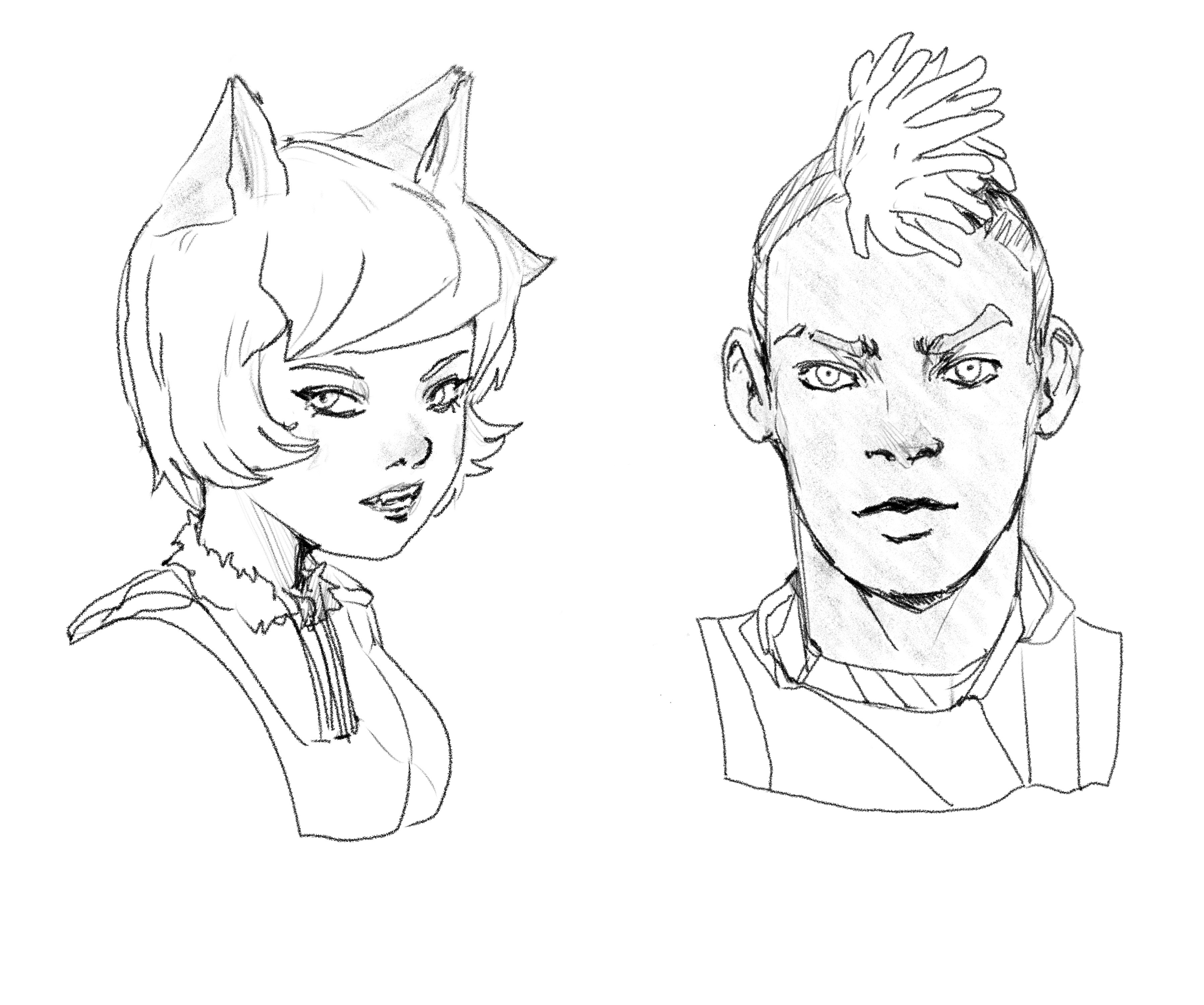 More Style Tests in Procreate - Cecelia and Balion