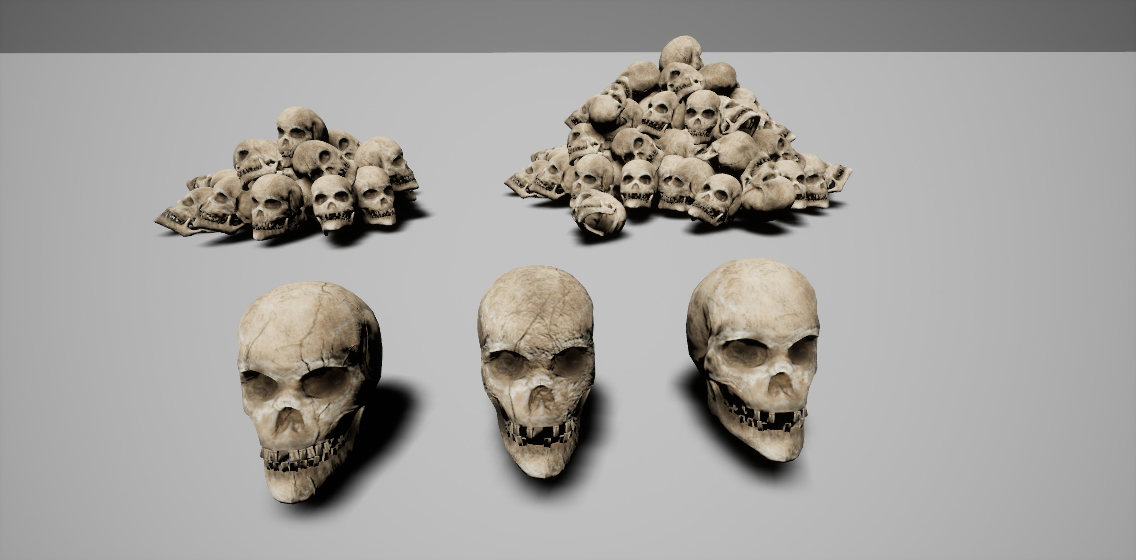 Three different versions of skulls - and two variations of piles I created for the scene. Modeled in Zbrush and textured in Substance Painter.