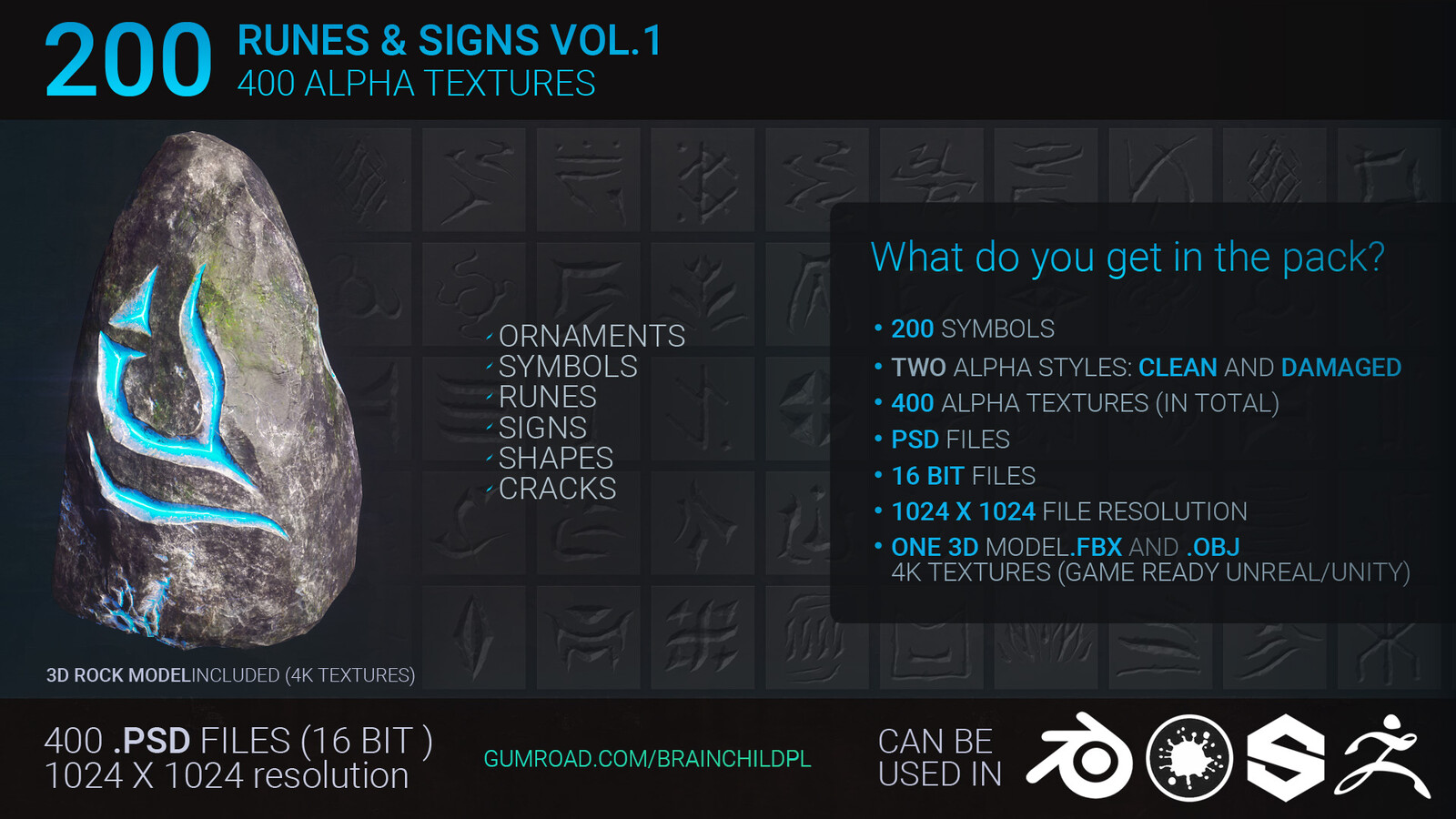 200 Runes (400 Alpha Textures)| Symbols | Ornaments | Signs | Shapes | Alpha Texture Zbrush Blender | Zbrush & Blender Brushes | Zbrush Alphas | Zbrush Brushes | Zbrush Alpha Textures | Damage Alpha Textures