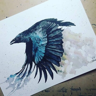 Richard huard crow watercolor