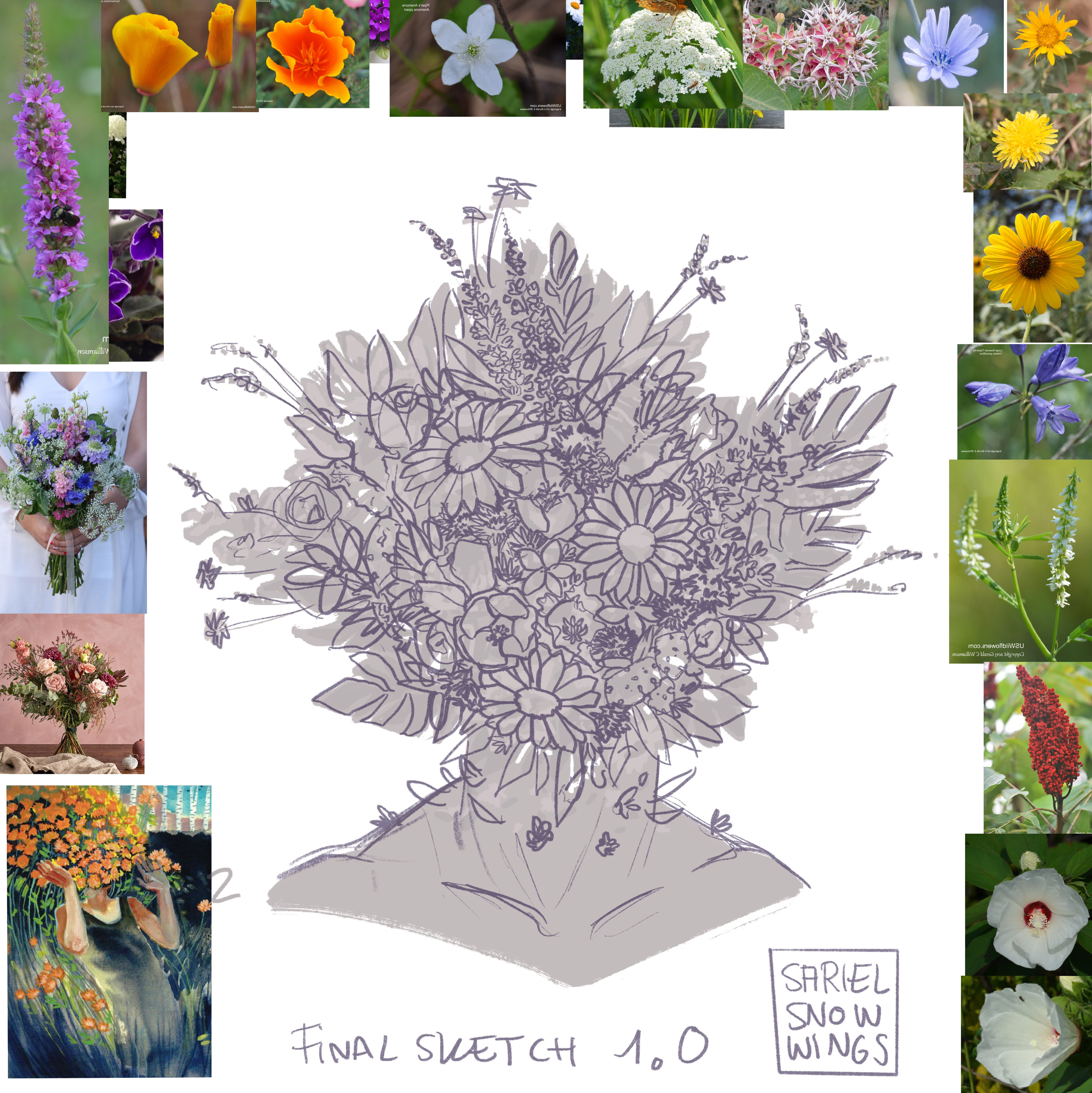 Final sketch for the portrait. The bouquet includes an amalgamation of flowers native to the client's state of Utah