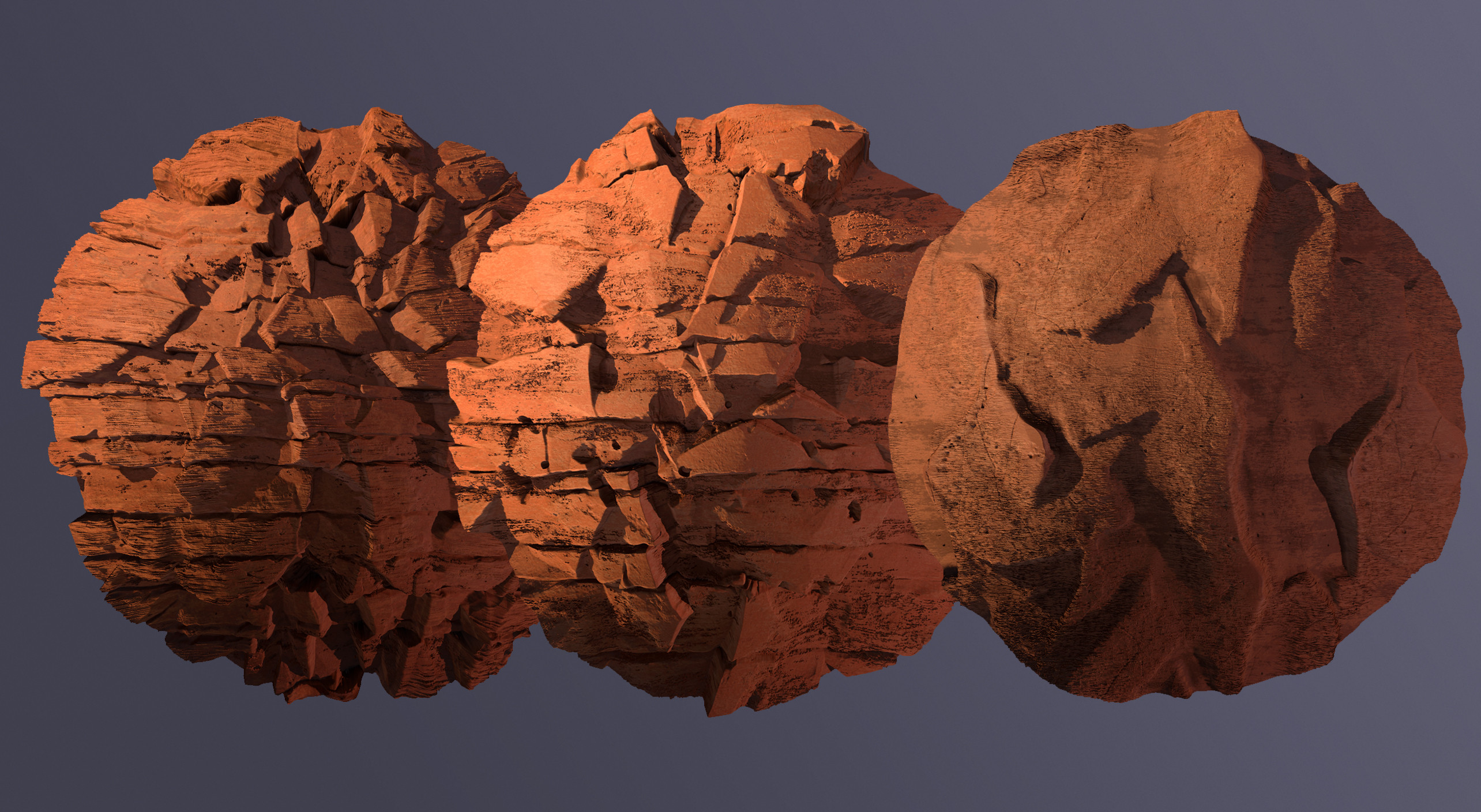The 3 Materials that make up the rocks in engine, made in SD rendered in marmoset
