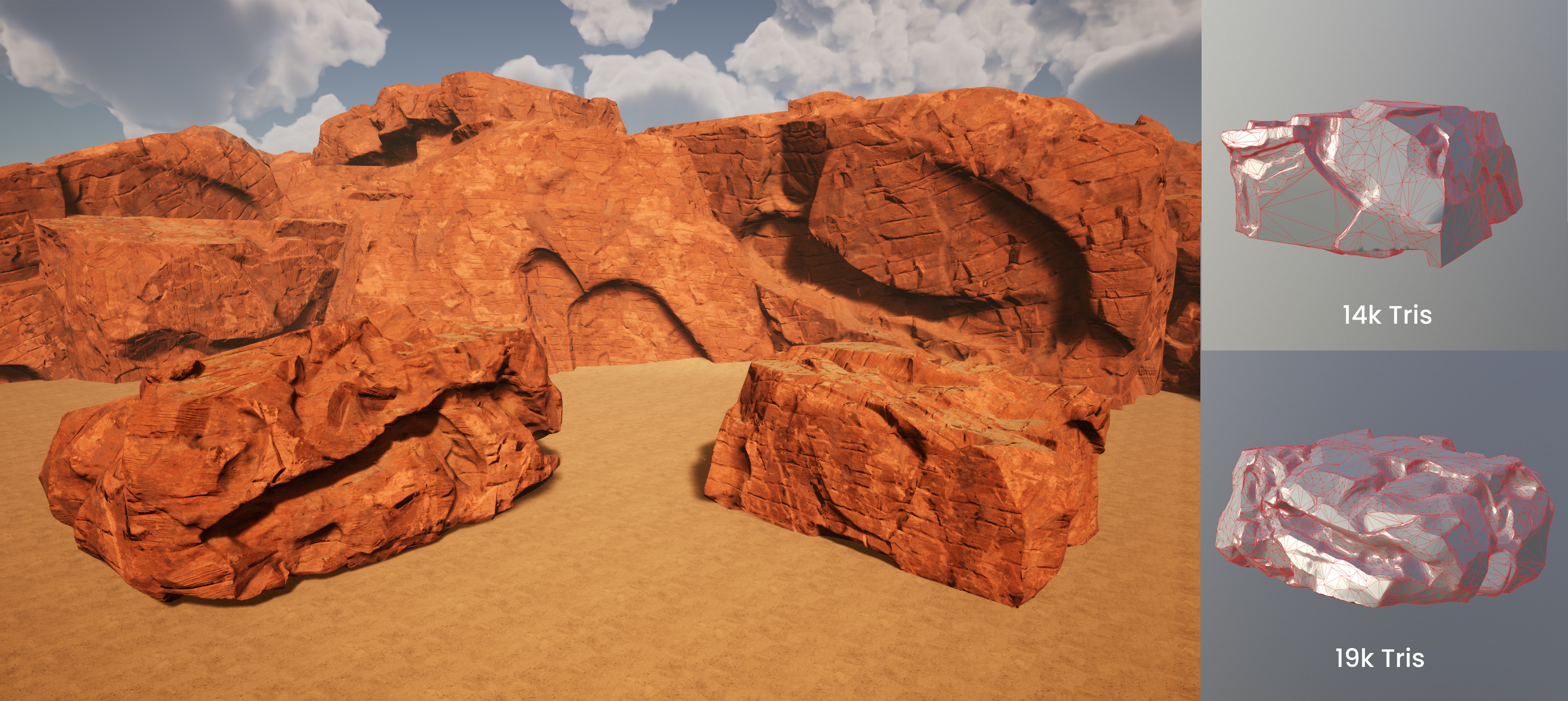 Pair of Cliff rocks sculpted in Zbrush using a different RGB mask material than that used on the other assets. Thanks to https://www.artstation.com/wermuth for his AAA rock tutorial that is the basis for these rocks