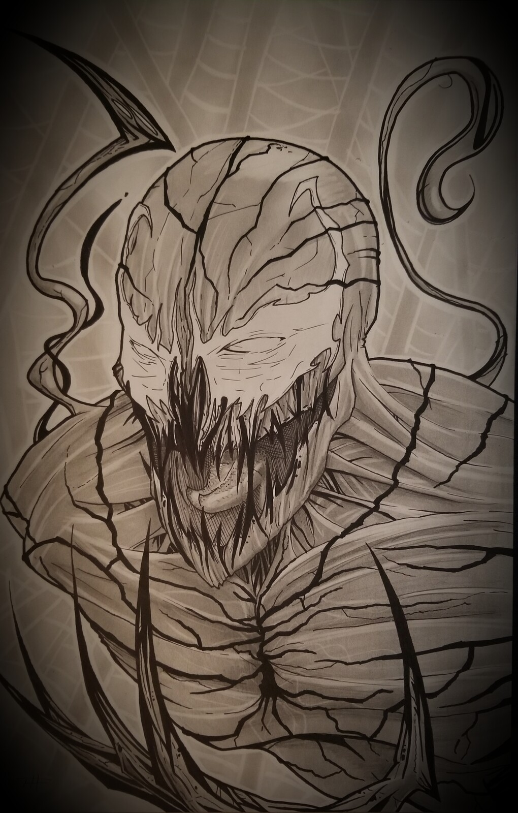 Carnage! The unmistakable Marvel villain. Graphite and ink.