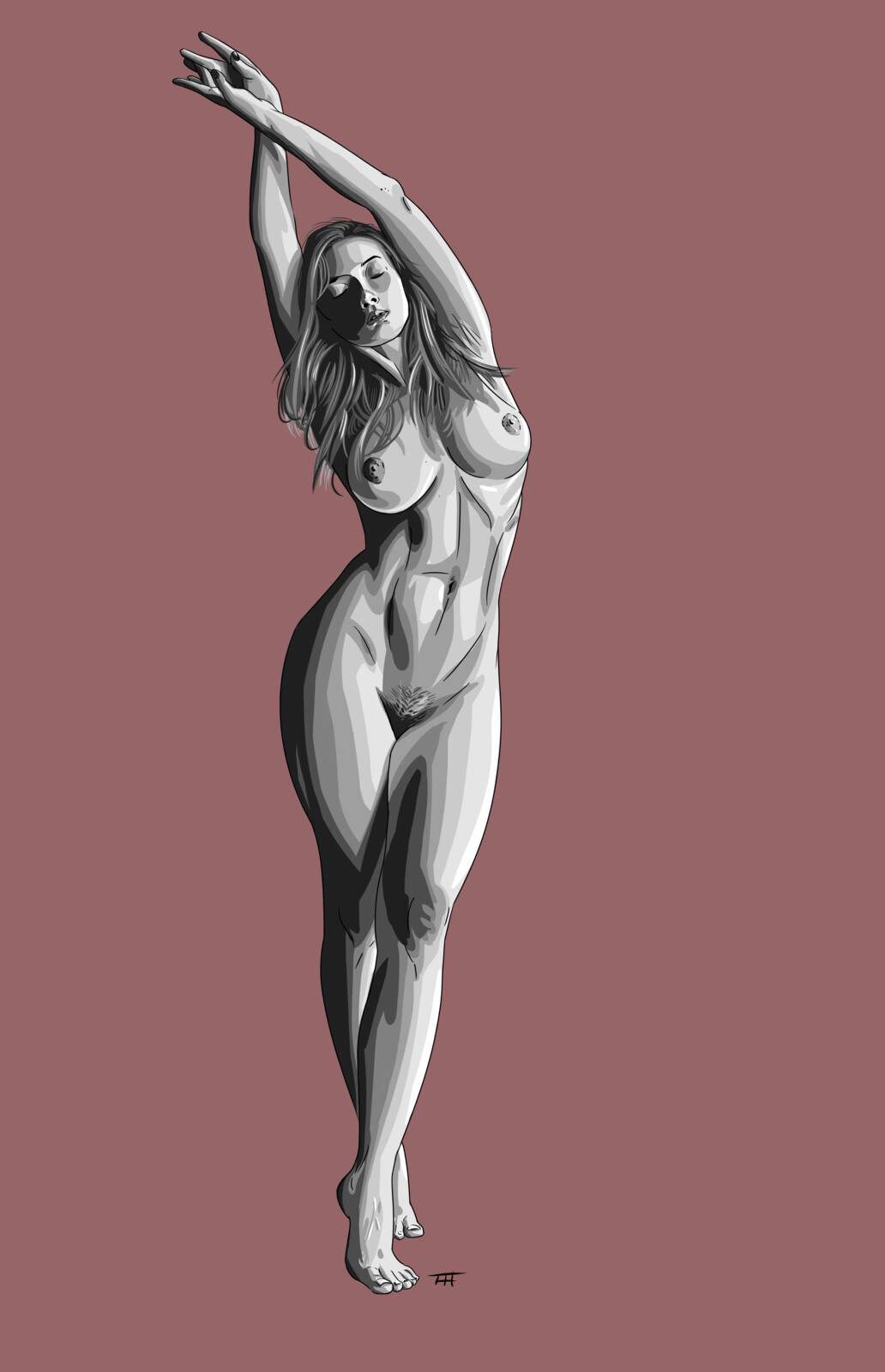 A nude study mostly trying to nail down a preferred style when shading digitally.