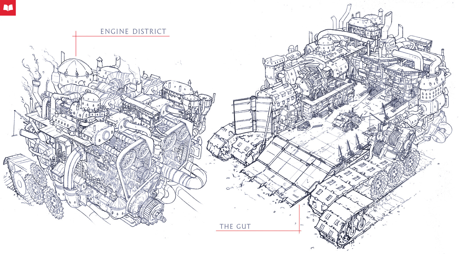 The Illustrated World of Mortal Engines - London's 'Engine District' and 'G.U.T.' (Great Under Tier)