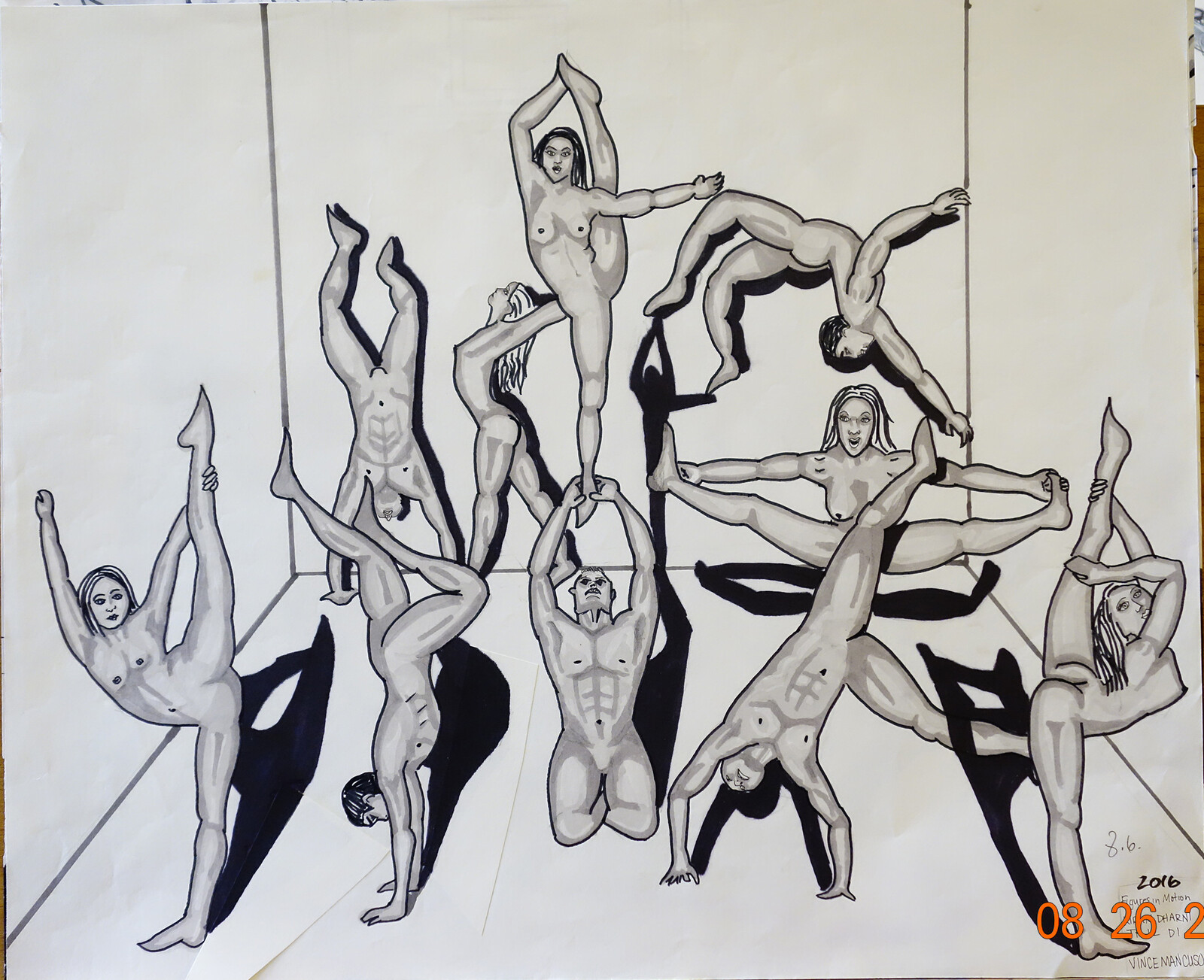 Project 14: Draw 5 men and 5 woman dancing on a single dance floor. Add 3D values.