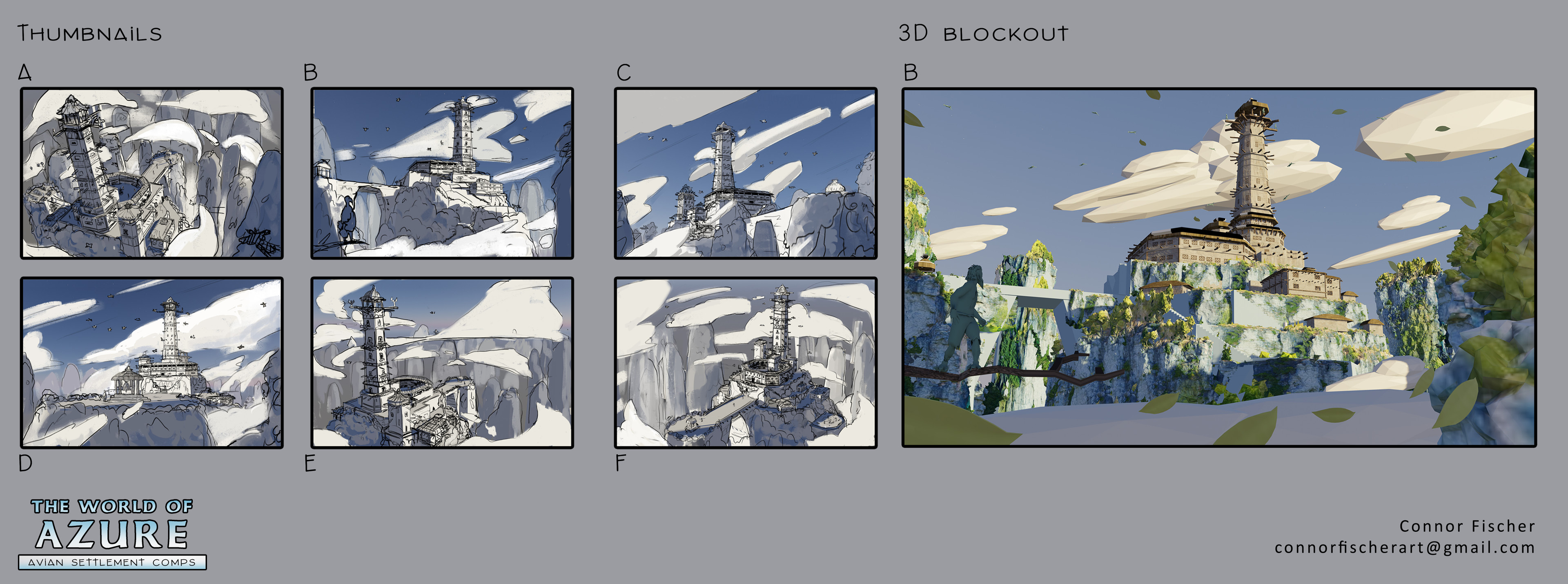 Thumbnail explorations, fluidly moving back and forth from 2D and 3D solutions.