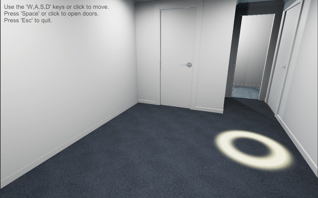 In-application screenshot. The user could move around the room by placing the cursor on the floor and clicking. The area was indicated by the glowing ring.