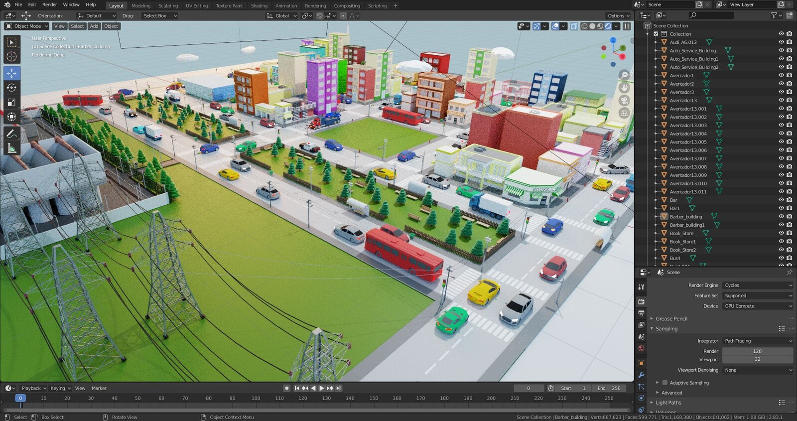 Screenshot of the view port inside Blender