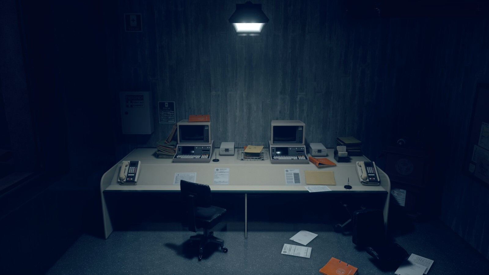 I created the desks, chairs, computers, floppy drives and phones. Screenshot by Ewan Wilson.