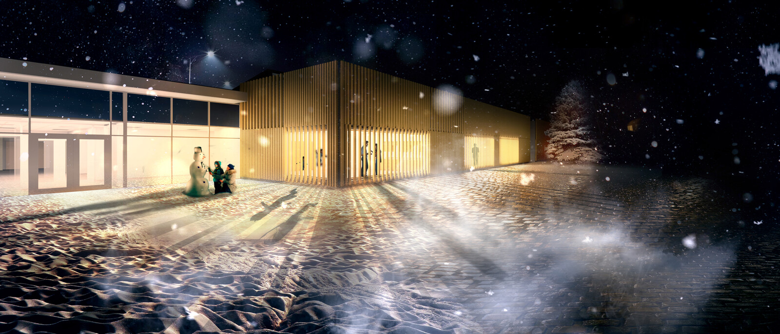 WOODEN SLAT FACADE - NIGHT CONCEPT
