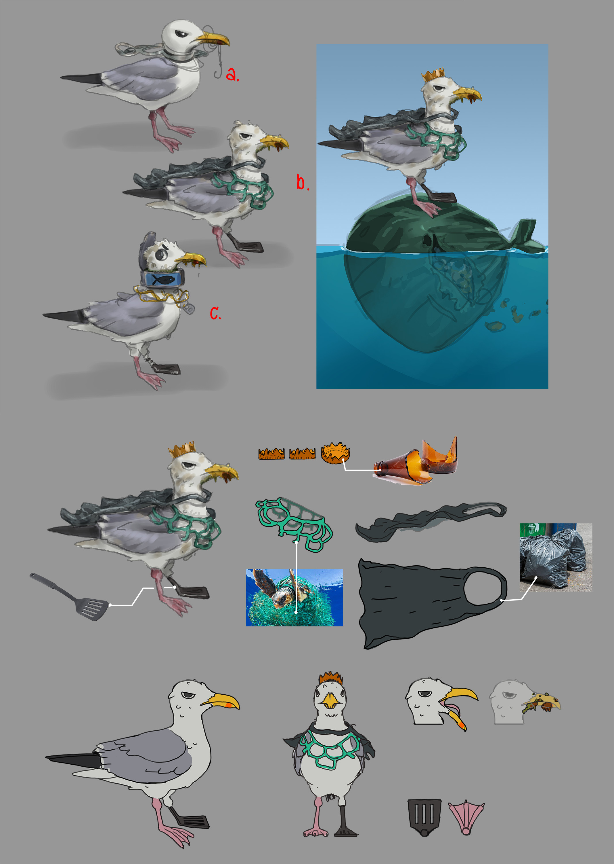 Villain Concept and breakdown  The villain represented pollution by becoming corrupted by man-made garbage and living on and spreading trash.