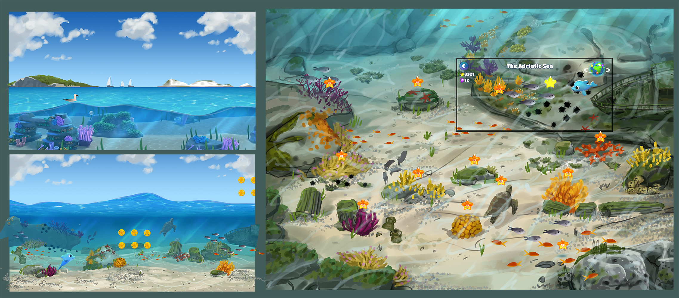 Concepts for gameplay and meta-game environments for the Adriatic biome  Each world of the game is set in a different part of the world affected by pollution that the player must fight off to bring diversity back to the environment.