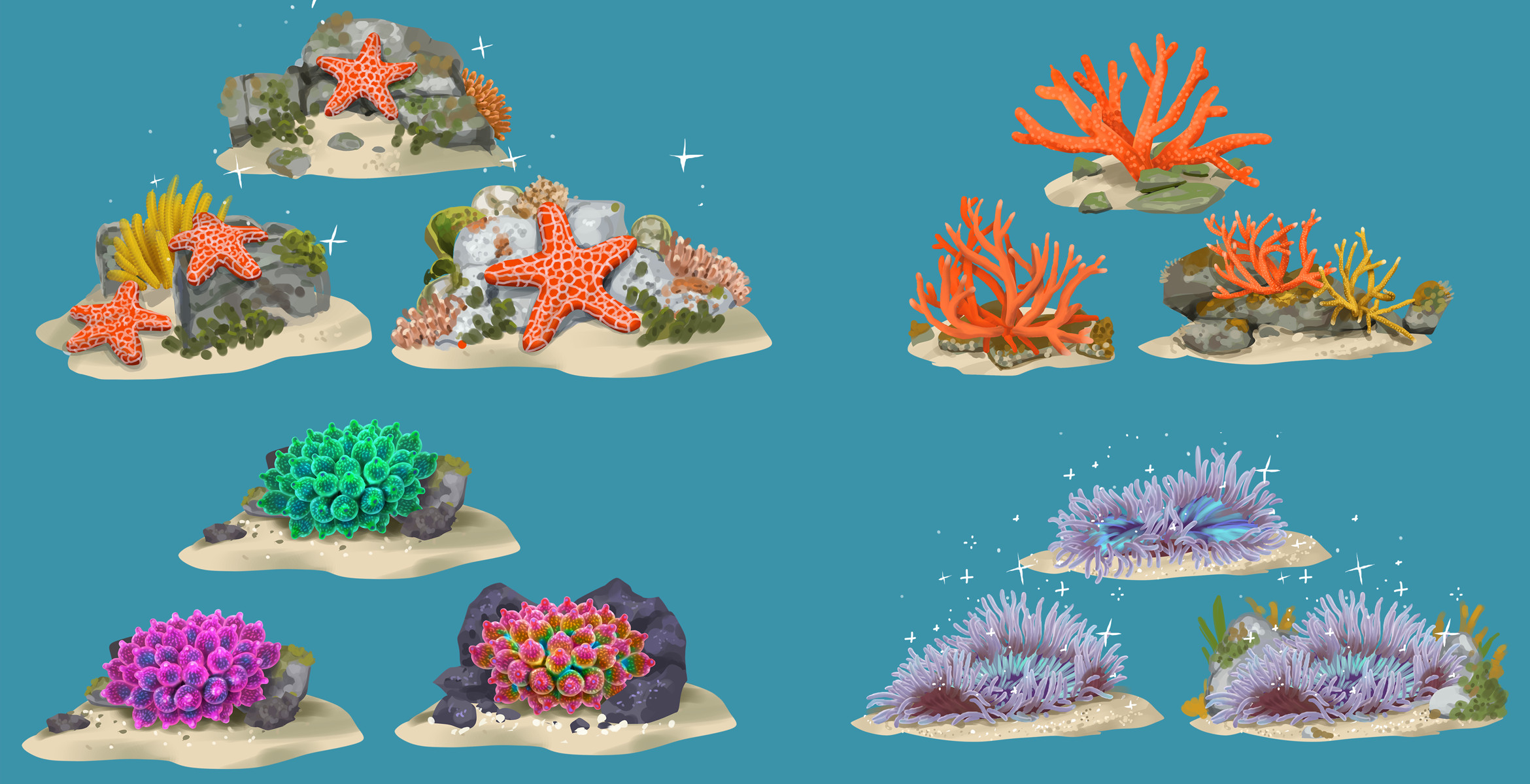 Concepts for plant and animal biome decorations. Sea Stars has a meta-game of bringing life back to different biomes around the world through a decoration mechanic. However instead of using furniture items the player decorates using plant and animal life.