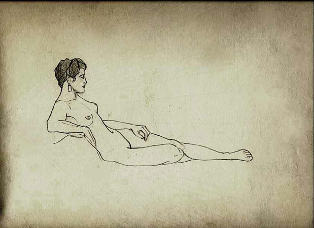 An Early Egon Schiele Sketch of Reclining Nude