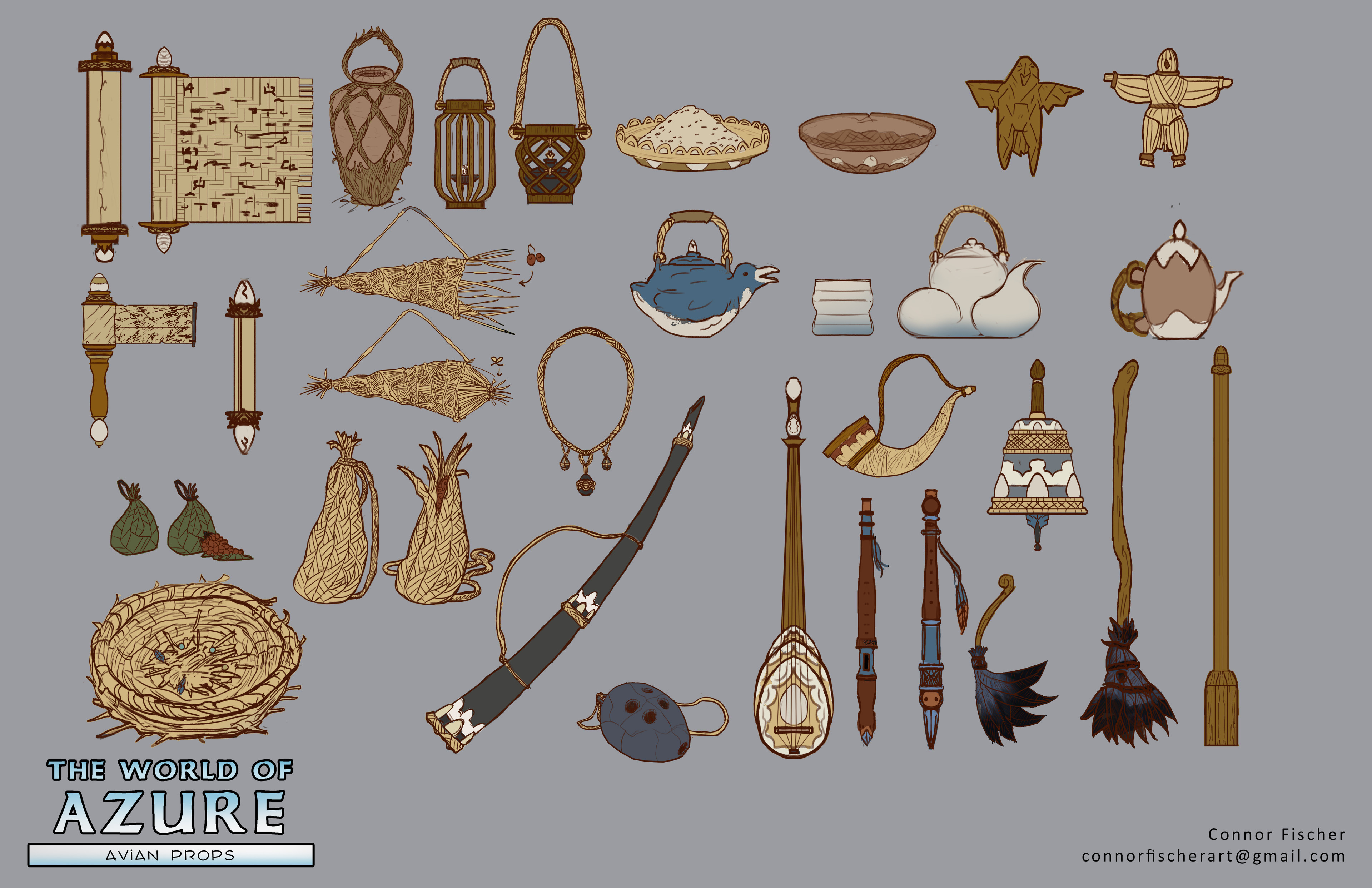 Various Avian props, tried to consider materials that the Avians would use and prioritize in daily life.