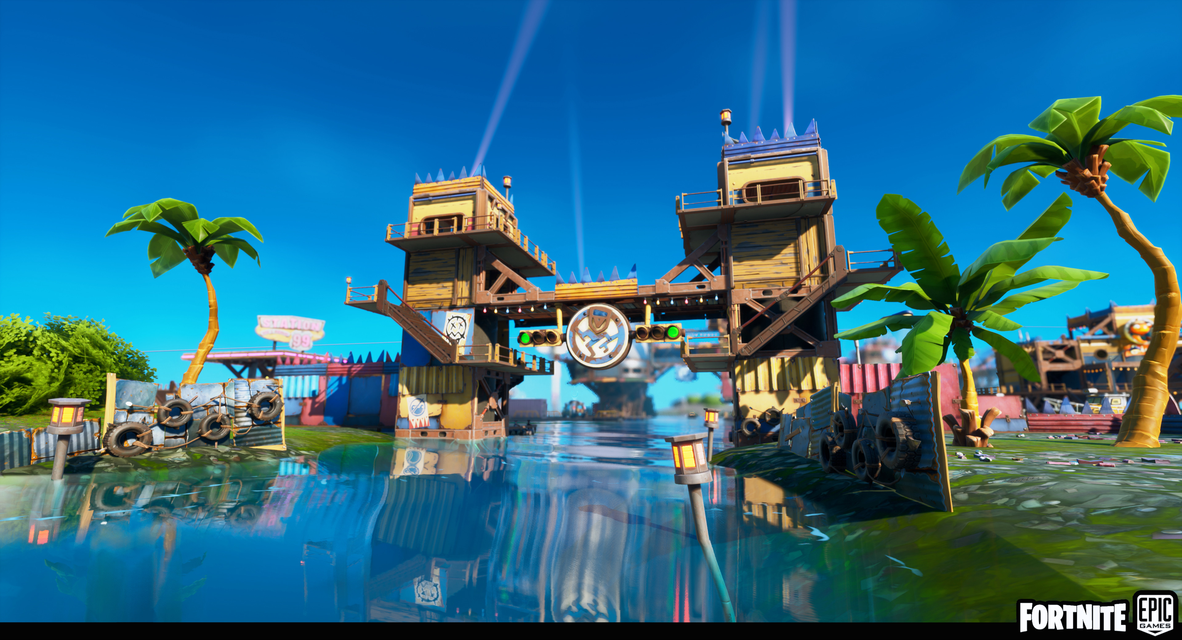 The Entrance of the Fortilla. Welcoming the player to a colourful town on the water made out of big salvaged metal parts.