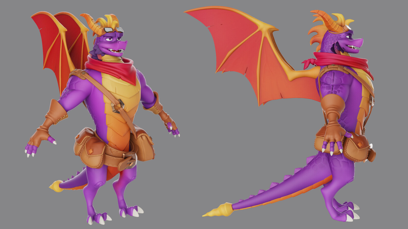 Front and Side of Adult Spyro high poly