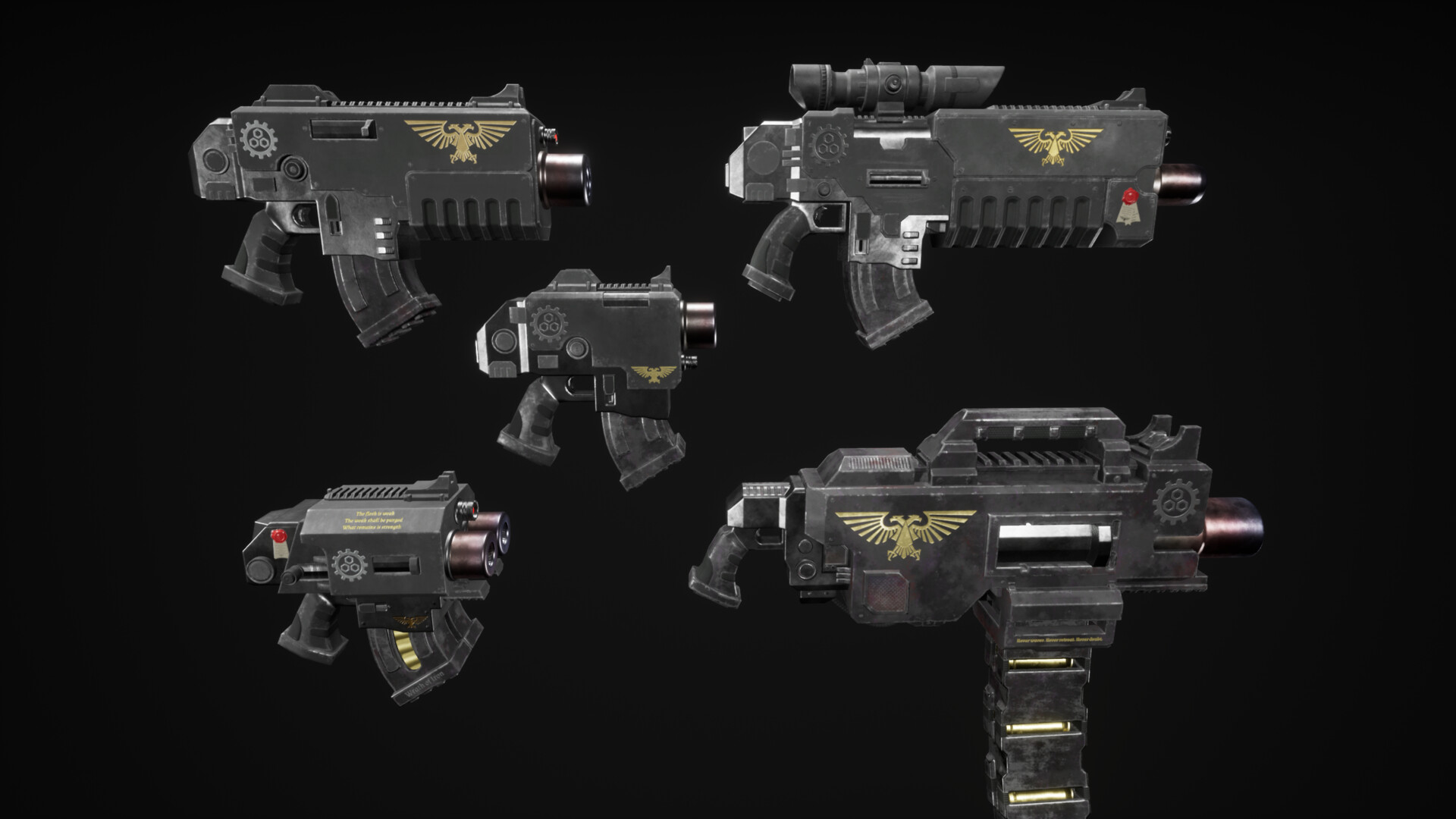 From top left to bottom right: Bolter, Bolt Rifle, Bolt Pistol, Storm Bolter, Heavy Bolter