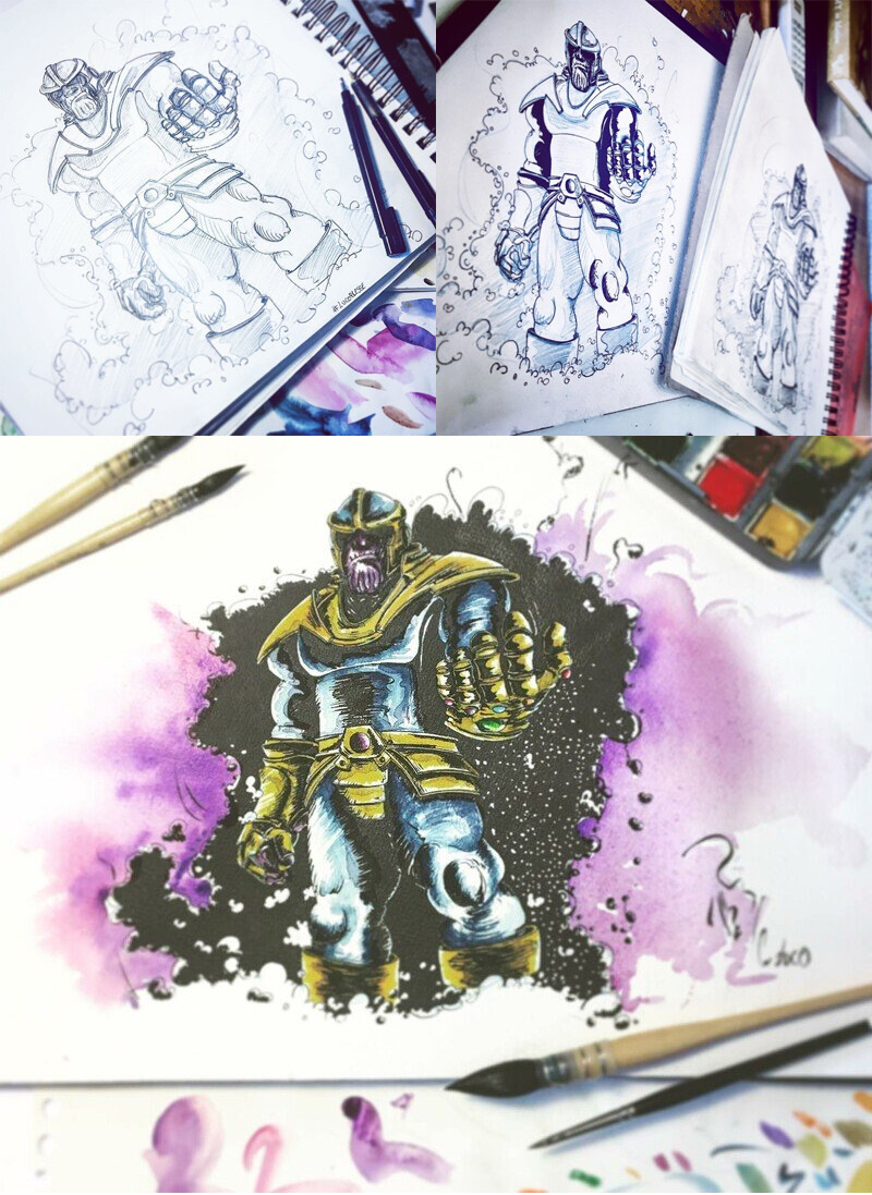 Thanos MCU,  Ink and watercolor