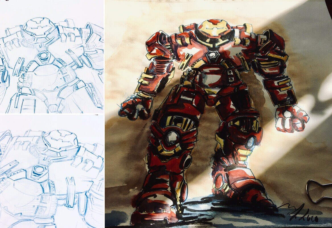 Hulkbuster MCU,  Ink and watercolor
