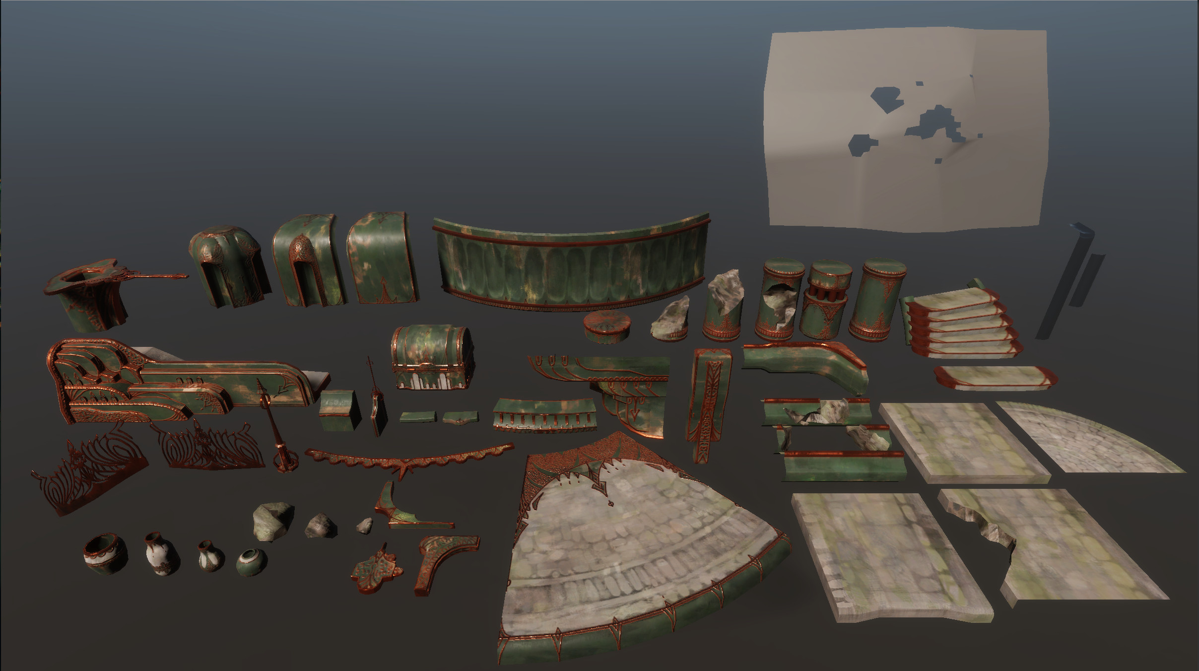 all the pieces used to build scene.