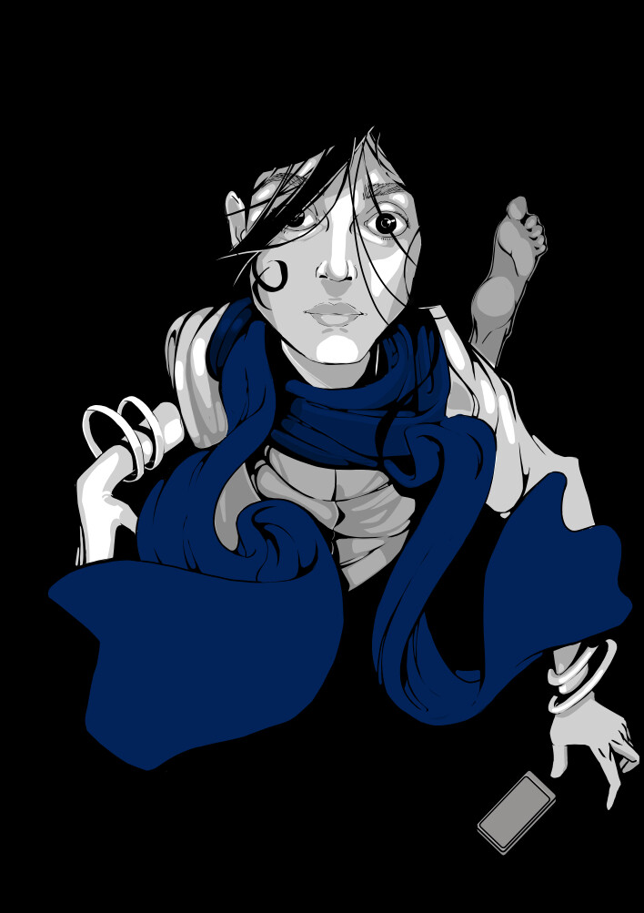 Falling with Blue Scarf