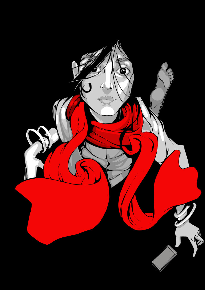 Falling with Red Scarf