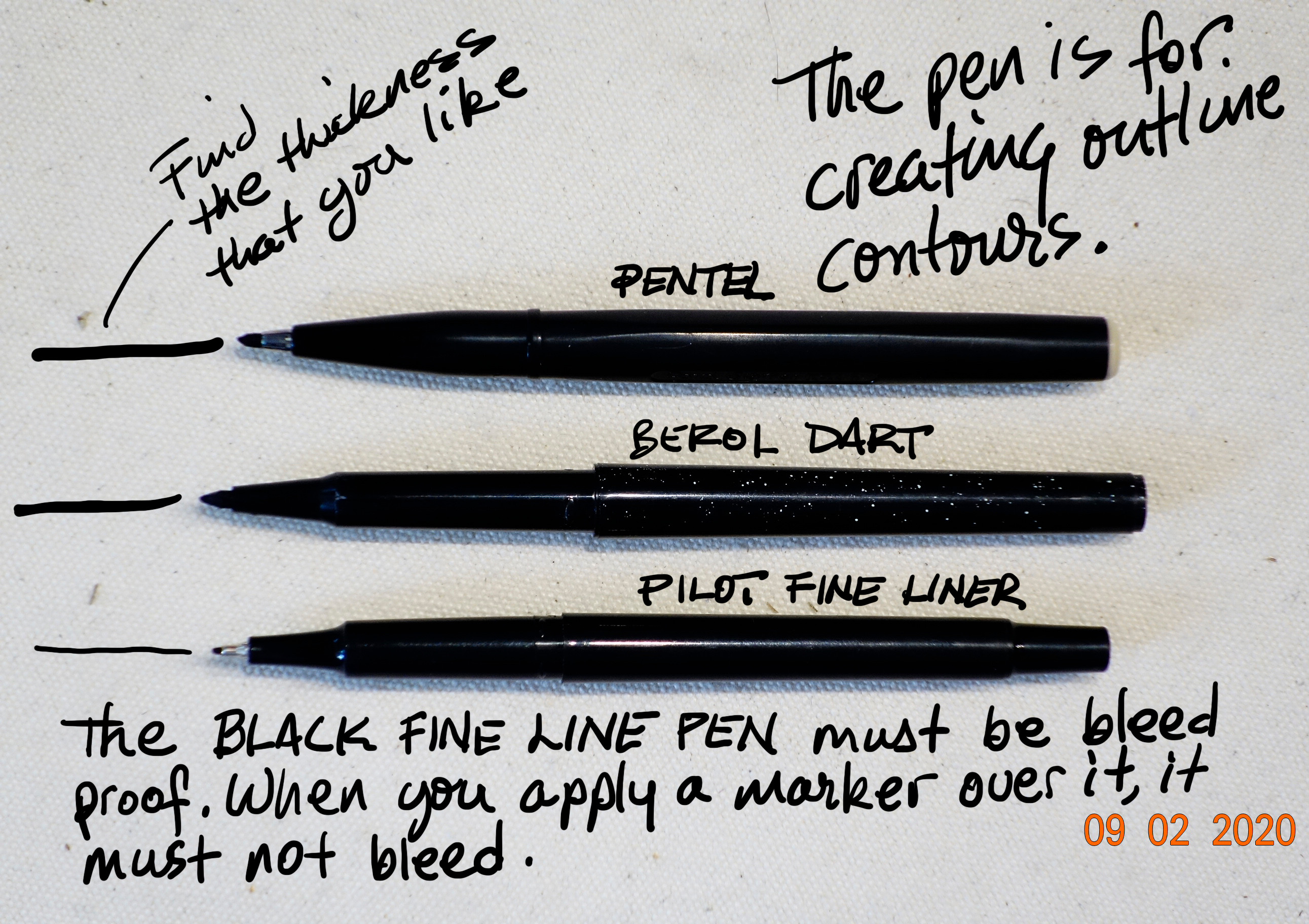 Fine liners must be bleed proof. They come in many forms and brands. You must choose one that you love to work with. It is your detailer and your contour line.
