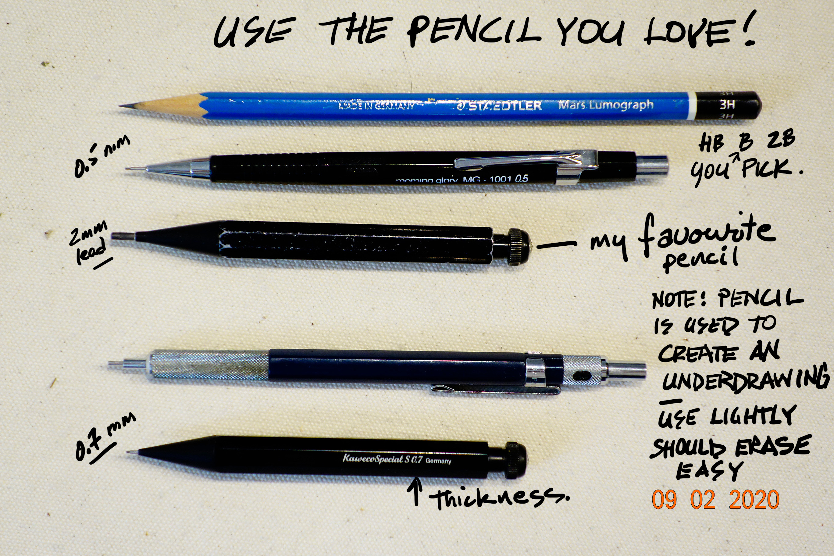 I love to use 2mm mechanical pencils. Other artist prefer to use .05 mm leads because it give you a finer line. regardless you do need a pencil of your choice to do some under drawing that after the drawing is inked you can easily erase.