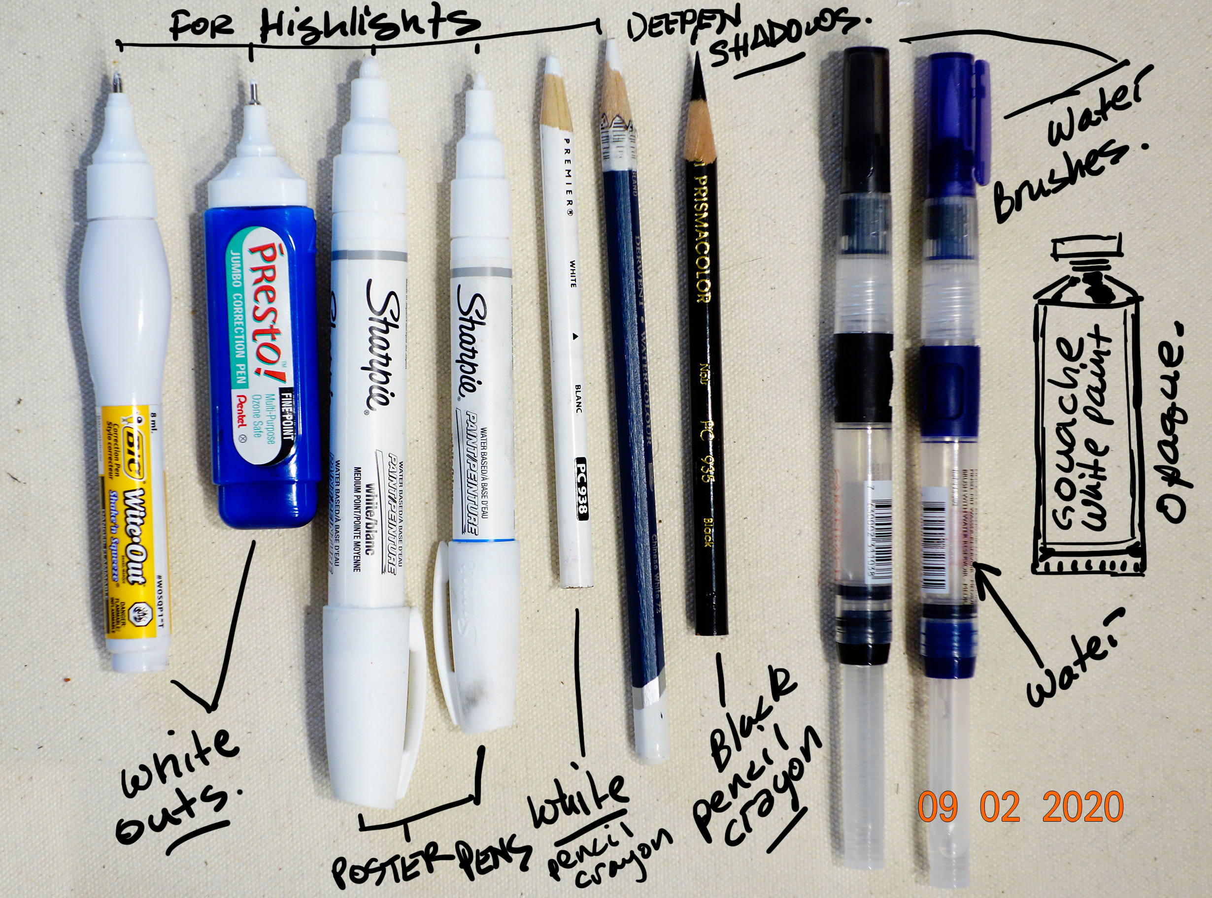 When applying white high lights to a drawing, I find it is easier to put them on at the end. Your white pencil crayon, white out pens and poster paint makers are ideal for this kind of thing, because the are opaque. Also get a black pencil crayon.