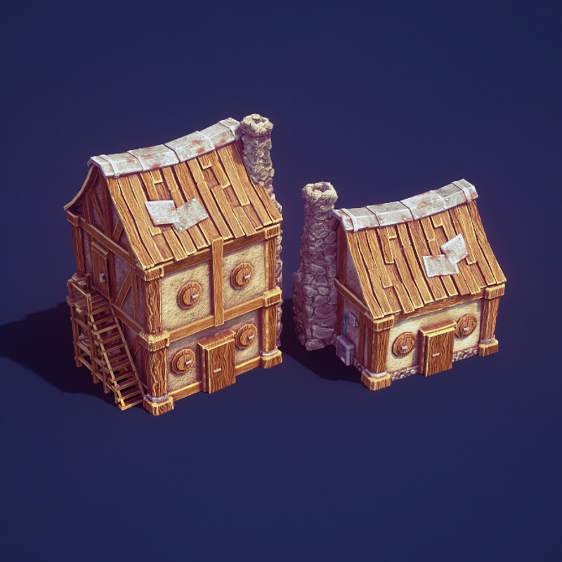 3d Low Poly Game Buildings | Low Poly Illustration | City Builder | Render in Unity 2018 | Blender