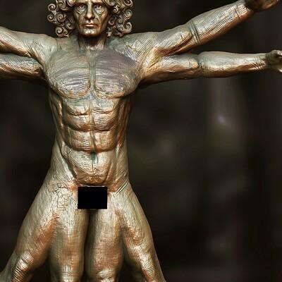 Surajit sen the vitruvian man digital sculpture by surajitsen sept2020 a