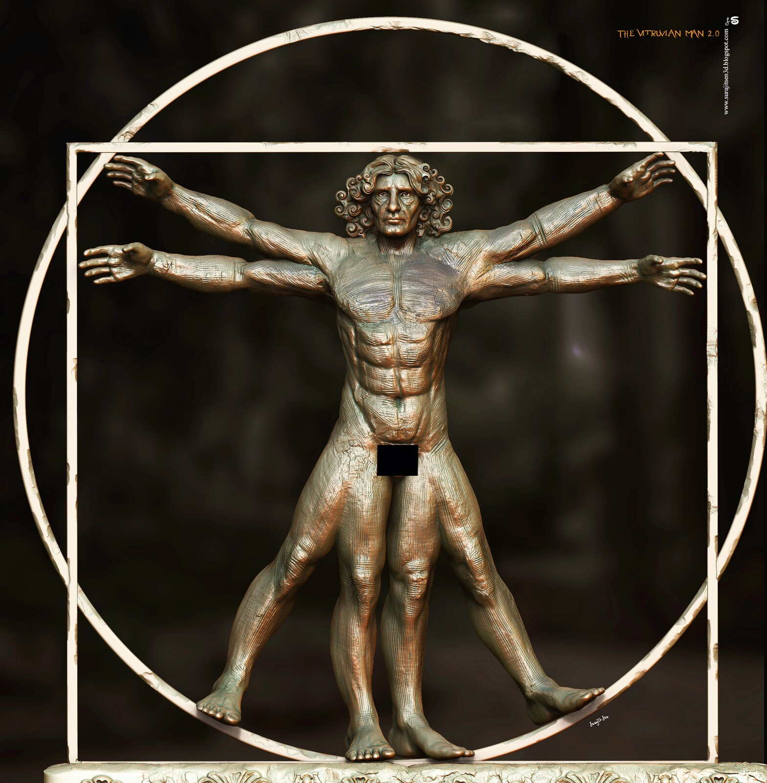 """The Vitruvian Man 2.0  The Vitruvian Man in different look! Wish to share the updated version….Digital Sculpture. I tried to make a form of """"The Vitruvian Man"""". 'The proportions of the human body according to Vitruvius' is a drawing made by Leonardo da Vi"""