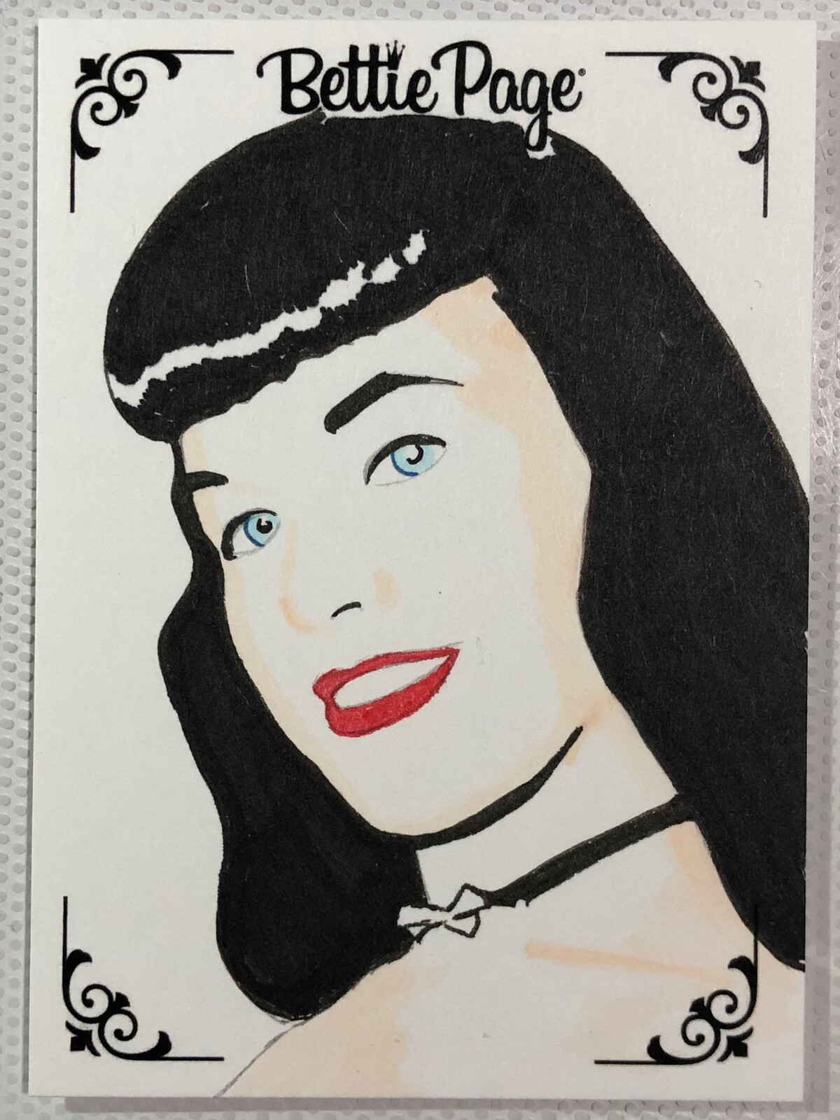 Bettie Page Art cards created for Dynamite Entertainments officially licensed Bettie Page trading card set