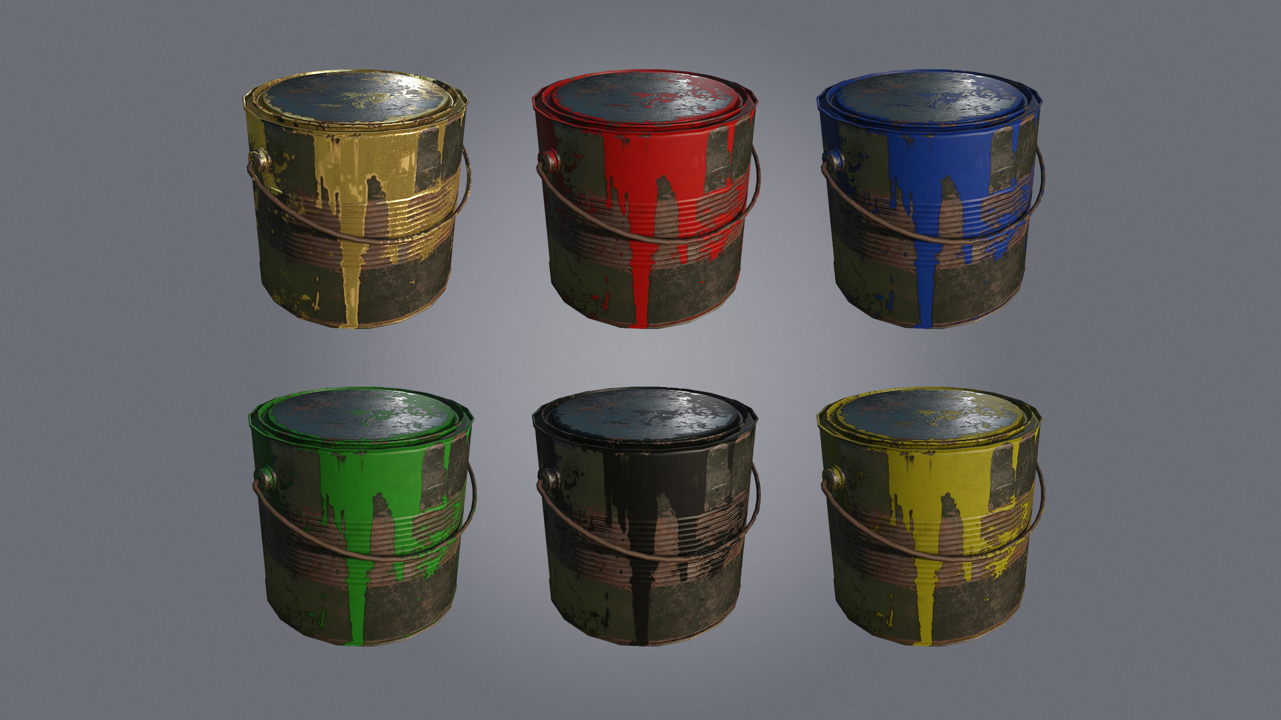 Buckets of Paint, used to paint Items/Bases.