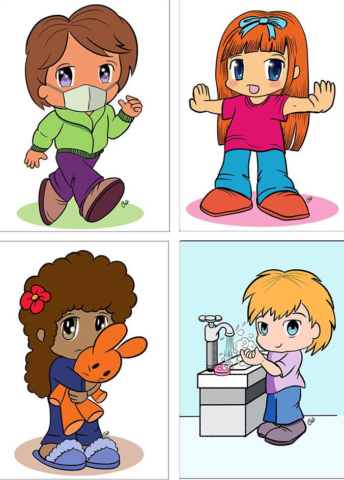 """Ilustrações para o jogo de cartas """"Cof Cof"""", sobre prevenção ao Coronavírus."""